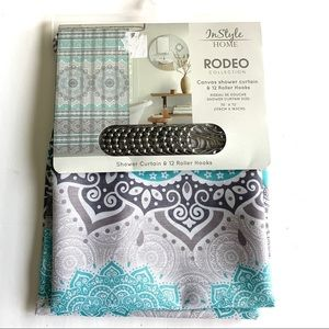 NWT InStyle Home Teal Geometric Shower Curtain